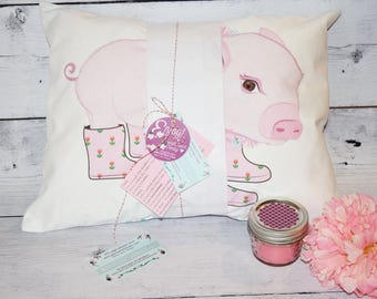 Baby Pig Pillow - Pocket Pillow design - Pig pillow cover - Stuffed Pig toy