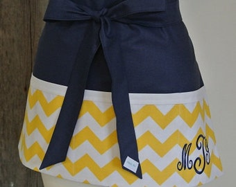 Personalized Yellow Chevron trimmed in Navy Craft, Vendor, Garden, Cooking, etc. Apron