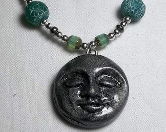 Full Moon Face Polymer Clay Beaded Bracelet