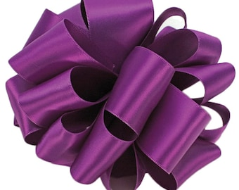 "Purple Satin Ribbon, 1 1/2"" wide, Purple Double Face - THREE YARDS - Offray  ""Royal Orchid"" Double Sided Wedding Ribbon / Sewing Trim"