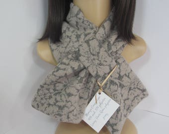 Soft wool blend scarf, taupe flowers on dark grey background