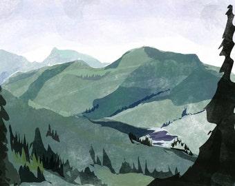Mountain Lake Art Print | Mountain Painting | Nature Art | Jennifer Shear | 5x7 | 8x10 | 11x14