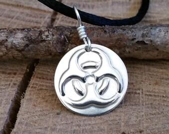 Biohazard Pendant - Geek Necklace, Sterling Silver Biohazard Jewelry, Nerd, Geekery, Science Jewelry, Toxic, Teacher Gift, Danger