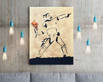Banksy Stormtrooper | Hand Painted Star Wars Stencil Art on Canvas | Pop Culture & Modern Home Decor