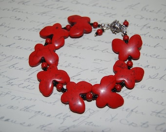 Red Dyed Howlite Butterfly  Bracelet