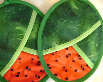 Watermelon Potholders, Summer fruit, Watermelon Hot Pads, Watermelon Oven Mitts
