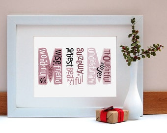 Mum Is Wonderful Print/ Mother's Day Gift/ Gift for Mum/ Present for Mum/ Mother's Day / Print for Mum/ Gift for Mom / Beautiful Gift