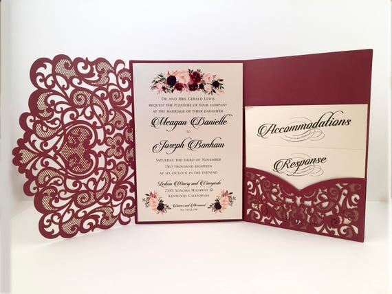 Laser cut wedding invitations marsala burgundy pocket wedding for Wedding invitations jacket pocket