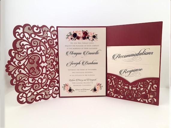 When Do You Order Wedding Invitations: Laser Cut Wedding Invitations Marsala Burgundy Pocket Wedding