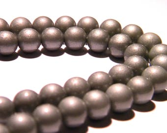10 bright glass beads - 8 mm-silver - PG27