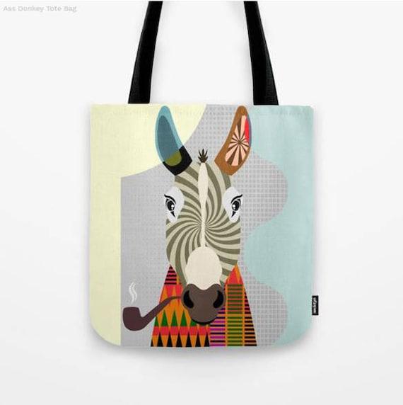 Donkey Tote Bag, Animal Tote Decorative Donkey Bag, Donkey Lovers Gift Tote Bag, Animal Lovers Gift