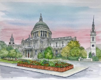 St Pauls Cathedral - London, Original Painting by Roisin O'Shea