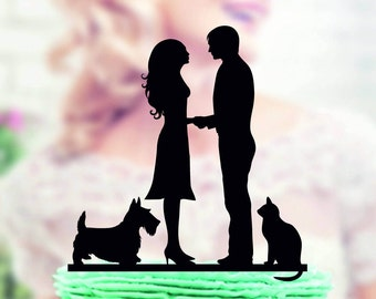 Wedding cake topper with cat and dog yorkie terrier , wedding cake topper , Wedding Cake topper with dog and cat , dog cat silhouette