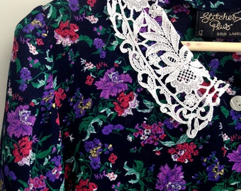 1990s Crochet Collar Romantic Floral Print Blouse