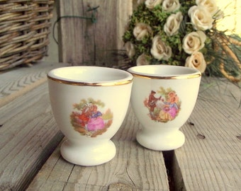 Vintage Egg Cups - Set of 2 - Porcelain Eggcups - French Eggcups - Romantic Decor - French White China - Signed - French Breakfast