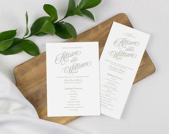 classic gray wedding programs, gray script wedding program, formal ceremony programs, gray and white ceremony program, printed programs