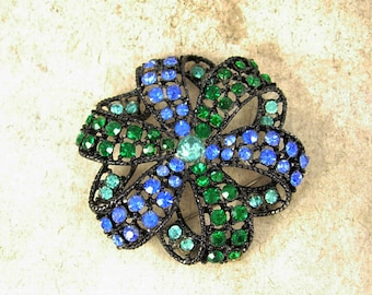 Vintage  KRAMER Brilliant thick Brooch  Layers of blue green  Rhinestone japanned metal
