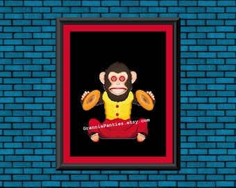 PDF Counted Cross Stitch PATTERN Creepy Cymbal Monkey 8x10 10x13 weird crafts wall decor maker vintage 80's retro handmade gift handcrafted