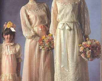 Vintage Alfred Angelo Wedding Dress Ivory Lace Edwardian Style With Hat Size 12