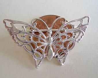 Sterling Silver Butterfly Brooch Pin