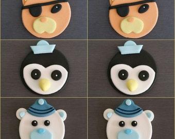 6 x Octonauts Cupcake toppers, Edible fondant Octonauts cake decorations