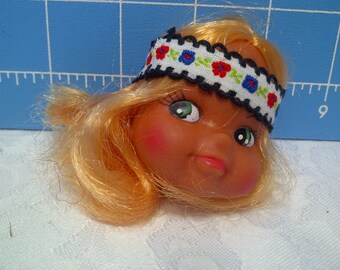 """Vinyl Indian Girl Doll Head Blonde Rooted Hair, White with Black Trim and Flowers Headband, 3"""" Tall with 3/4"""" Neck"""