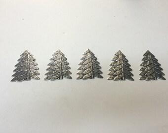 Metal Stamping - Silver Pine Trees - Set of 5
