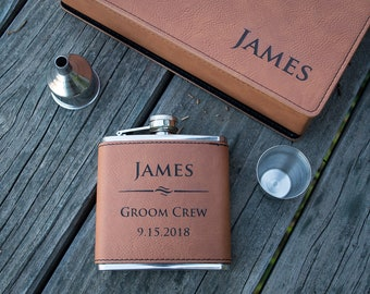 Personalized Leather Flask - Custom Engraved Flask Set, Raw Hide Flask, Faux Leather Groomsmen Flask, Personalized Flask, Monogram ...
