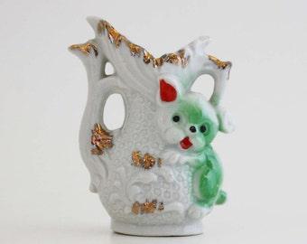 Vintage Porcelain Vase with Dog