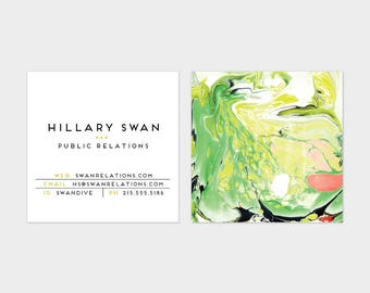 Green + Chartreuse Marble Calling Cards   Business Cards   Blogger Cards   Set (50)