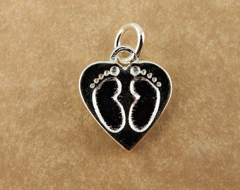 Sterling Silver Baby footprints in a heart Charm with jump ring