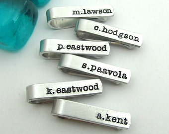 Groomsmen Skinny Tie Clips - Hand Stamped Personalized Tie Clips - Men's Wedding Party Gifts for Groomsmen Groom, any number available (003)