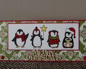 Christmas - Merry Christmas - penguins - red and green greeting card + envelope