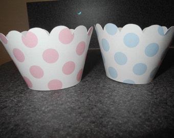 Boy Girl Polka Dot Baby Shower  Cupcake Wrappers  Set of 48