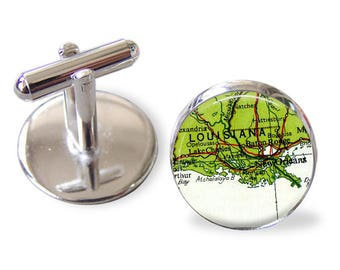New Orleans Louisiana Cuff Links, bachelor gifts, cufflinks for groom, wedding favors, grooms gifts, cuff links father of the bride