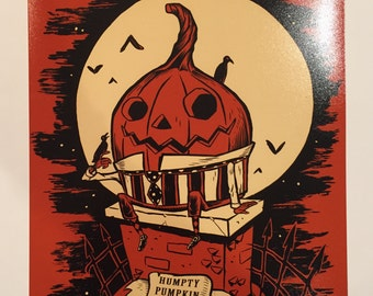 Humpty Pumpkin 8 x 10 inch signed Halloween art print by Rhode Montijo