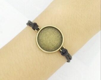 10pcs 20mm bracelet Base trays 8mm / 10mm / 12MM / 14MM / 16MM / 18MM / 20MM / 25MM  bracelet Setting, 16mm bracelet blank 10 colors