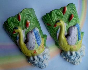 Vintage 50s Swan Wall Pockets Japan Porcelain