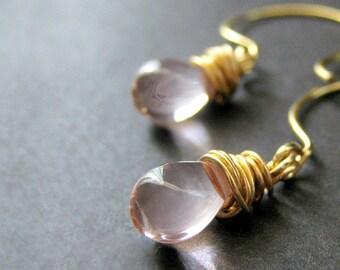 Pink Glass Teardrop Briolette Earrings Wire Wrapped in Gold - Elixir of Innocence. Handmade Earrings.