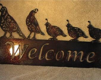 Quail Welcome-Metal Art