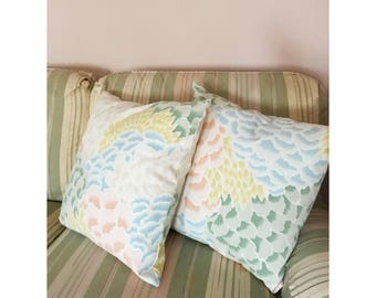 Pair of Decorative Pillows Made With Vintage Fabric
