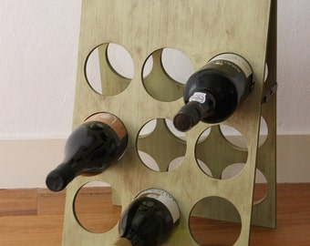 Wine rack for 18 bottles in olive green shabby chic style