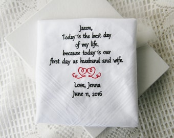 Groom From Bride Gift- Embroidered Handkerchief Choose Your Wording and Design