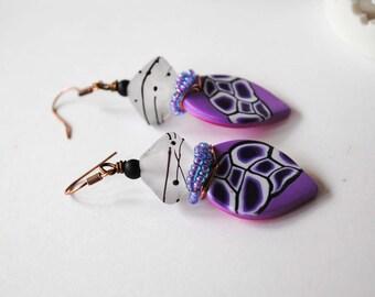 Purple Polymer Clay Earrings, Abstract Earrings, Lampwork Glass Beads, Spotted Earrings, Wire Wrapped Earrings, Funky Teardrop Earrings