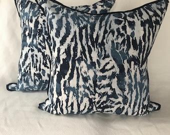 Schumacher Celerie Kemble Indigo Feline Pillows