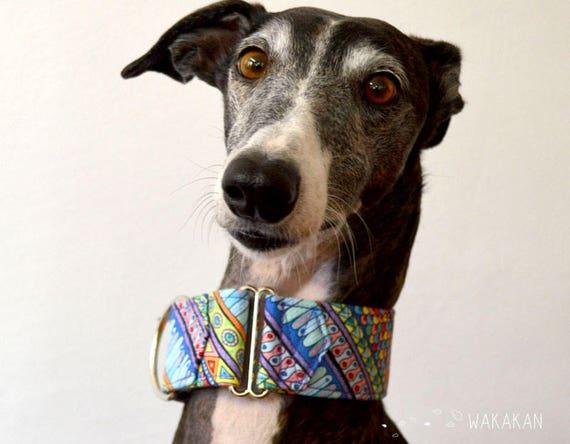 Martingale dog collar model Boho. Adjustable and handmade with 100% cotton fabric. Ethnic native pattern Wakakan