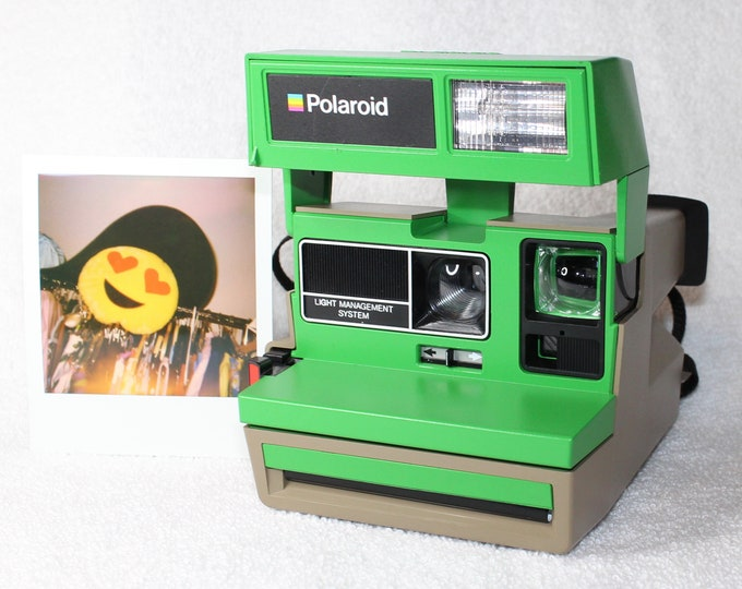 Upcycled Polaroid Sun 600 with Green and Beige - Cleaned and Tested