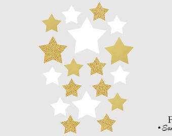 Star applique transfer flex fusible Gold White