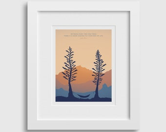 HAMMOCK TWO PINES 8x10 • Giclee Fine Art Print •Camping Tree Forrest Quote in Mountain Landscape, Outdoor Exploration While Backpacking