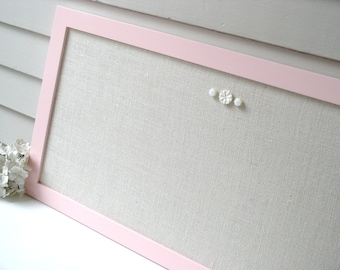 Long Narrow Modern Bulletin Board Message Center Magnetic Organizer 17.5 x 33 Pink Wood Frame Magnet Board Ivory Burlap Fabric - Shabby Chic